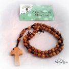 Olive Wood Rope Rosary Cross Necklace - from Bethlehem