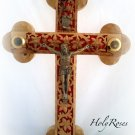"Olive Wood Cut Out 14 Stations Wall Cross Crucifix 4 Vials 11""/28 cm"