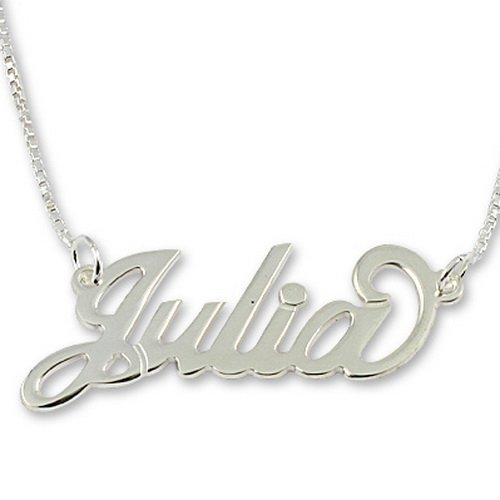 Sterling Silver Personalized English Name Necklace with Box Chain