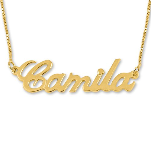14K Gold Personalized English Any Name Necklace with Box Chain