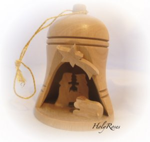 Bethlehem Bell Olive Wood Nativity Ornament (Small)