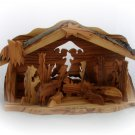 OLIVEWOOD CHRISTMAS NATIVITY SCENE WITH BARK ROOF BETHLEHEM HOLYLAND XMAS (RF48)