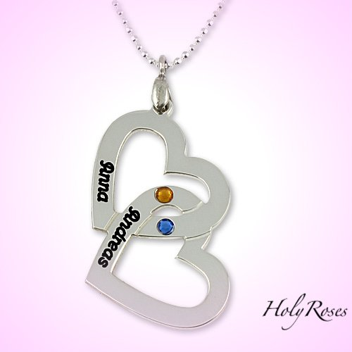 Sterling Silver Couple's Name & Birthstone Hearts Necklace Pendant