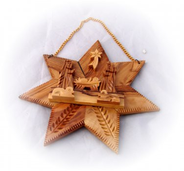 Olive Wood Bethlehem Star - Christmas Nativity Scene)