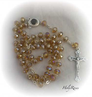Gold / Yellow Crystal Rosary Holyland Earth Terra Sancta Madonna Mary Jesus Center