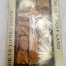 Olive Wood Cross Packaged with Dried Holyland Flowers