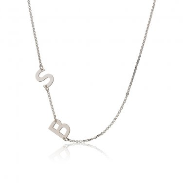 Sterling Silver Sideways 2 Initials Pendant Necklace Link Chain Perfect Gift v2