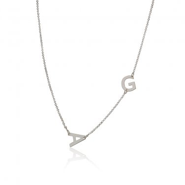 Sterling Silver Sideways 2 Initials Pendant Necklace Link Chain Perfect Gift