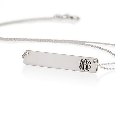 925 Sterling Silver Bar Personalized Curly Monogram Necklace Pendant