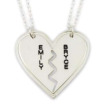 Sterling Silver Couple's His & Hers Names Breakable Heart Pendant