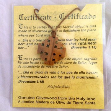 Jerusalem Cross Crusaders Olivewood Pendants Necklaces Holyland