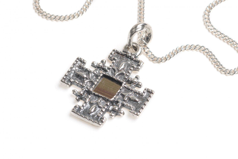 Sterling Silver 925 Jerusalem Cross with Nano Bible Pendant Chain New Testament