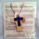 Cross with Blue Acrylic Inlay - Olive Wood Pendant