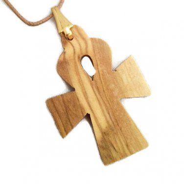 Egyptian Cross Olive Wood Pendant