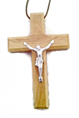 Olive Wood Crucifix Pendant Deluxe Large