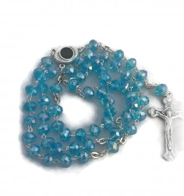 Blue Crystal Rosary Holyland Earth Terra Sancta Madonna Mary Jesus Center