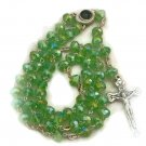 Light Green Crystal Rosary Holyland Earth Terra Sancta Madonna Mary Jesus Center