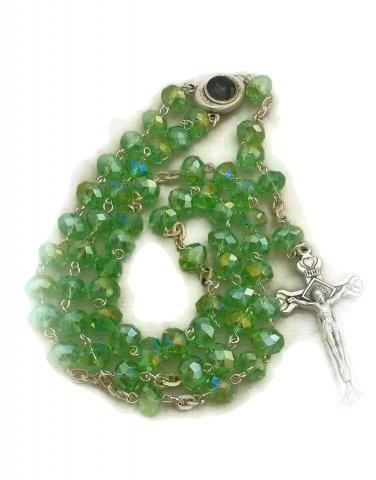 Light Green Crystal Rosary Holyland Earth Terra Sancta Madonna Mary Jesus Center