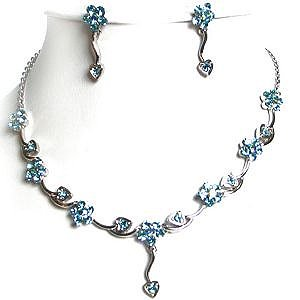 Aqua Blue Rhinestone Necklace And Earrings