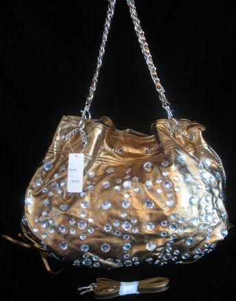 Bronze Rhinestone Bucket handbag Bag Purse NWT s