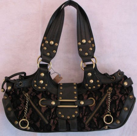 Black Faux Leather Chenille Lace Stud handbag bag purse RESTOCKED