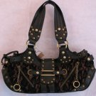 Black Faux Leather Chenille Lace Stud handbag bag purse RESTOCKED