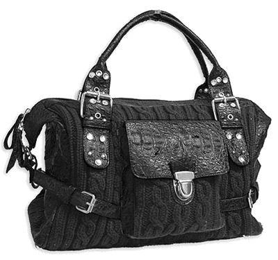 Black Cable Knit handbag bag Purse Stud