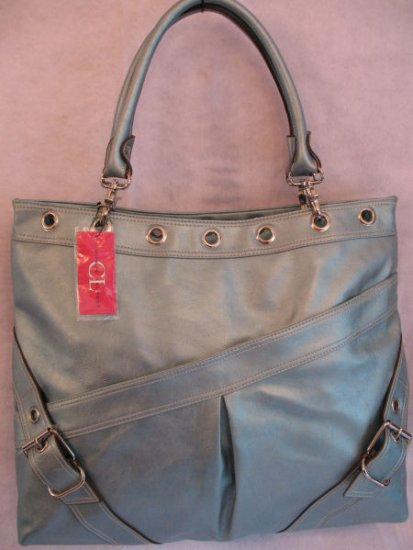 Metallic Blue Chinese Laundry Oversized Handbag Bag Purse Tote ONLY 1 LEFT!