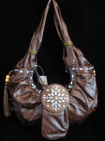 Western style beaded brown handbag purse bag NWT s