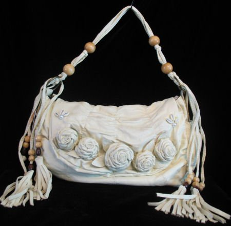 Roses western flair handbag bag purse s Cream