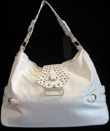 Oversized white stud buckle handbag bag purse Cafe Bug