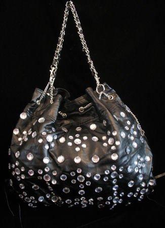 Black Rhinestone handbag bucket bag purse NWT s