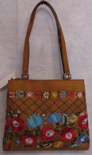 Faux Suede Swedish Embroidered Handbag Flowers