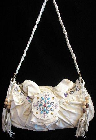 Beautiful Cream Beaded Handbag bag purse RESTOCKED