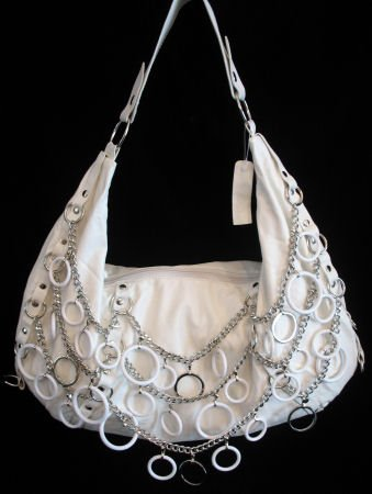 Fashion white chain handbag bag purse tote