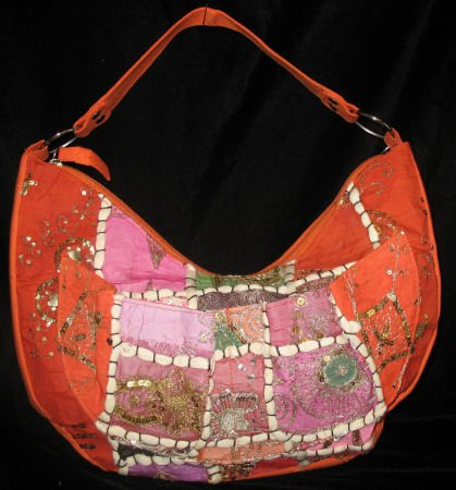 Orange embroidered purse handbag bag bohemian