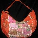 Orange embroidered purse handbag bag bohemian