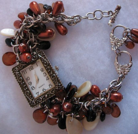 Beautiful Beaded Womens Watch Rust Black Ivory