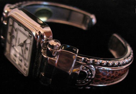 Silver Tone womens Cuff Watch With Brown Leather inlay