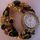 Muted Gold Glass Beaded Watch With Crystal Accents