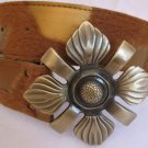 Gold & Tan Faux Fur and Leather Belt Womens accessories