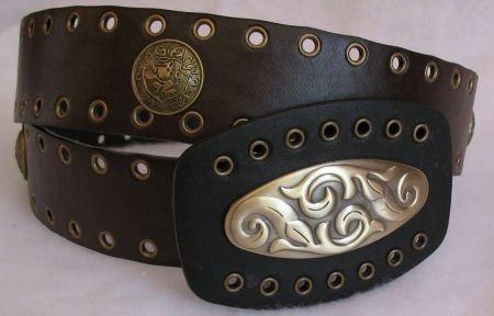 Dark Brown Womens Belt with Antiqued brass Hardware