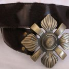 Dark Brown Faux Leather and Fur Belt Womens Accessories