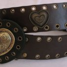 Brass Heart Accented Faux Leather Dark Brown Belt
