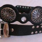 Black Faux Leather womens belt Rhinestone accents