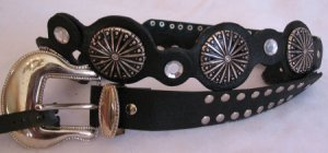 Black Faux Leather womens belt Rhinestone accents