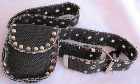 Black Distressed Canvas Belt & money pouch