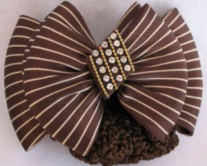 Brown Striped hair bow barrett Crystal Bun Net