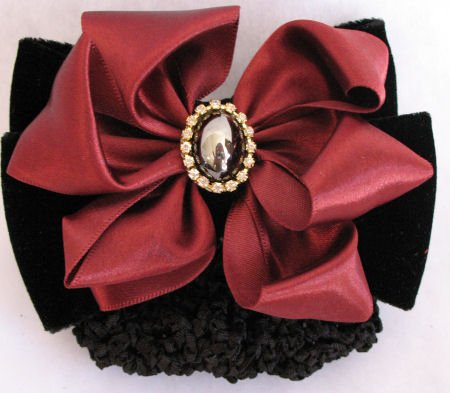 Black Velvet Burgundy Satin Crystal Barrett Bun Holder SOLD OUT