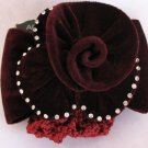 Burgundy Hair barrett Rose Crystal Bun Holder